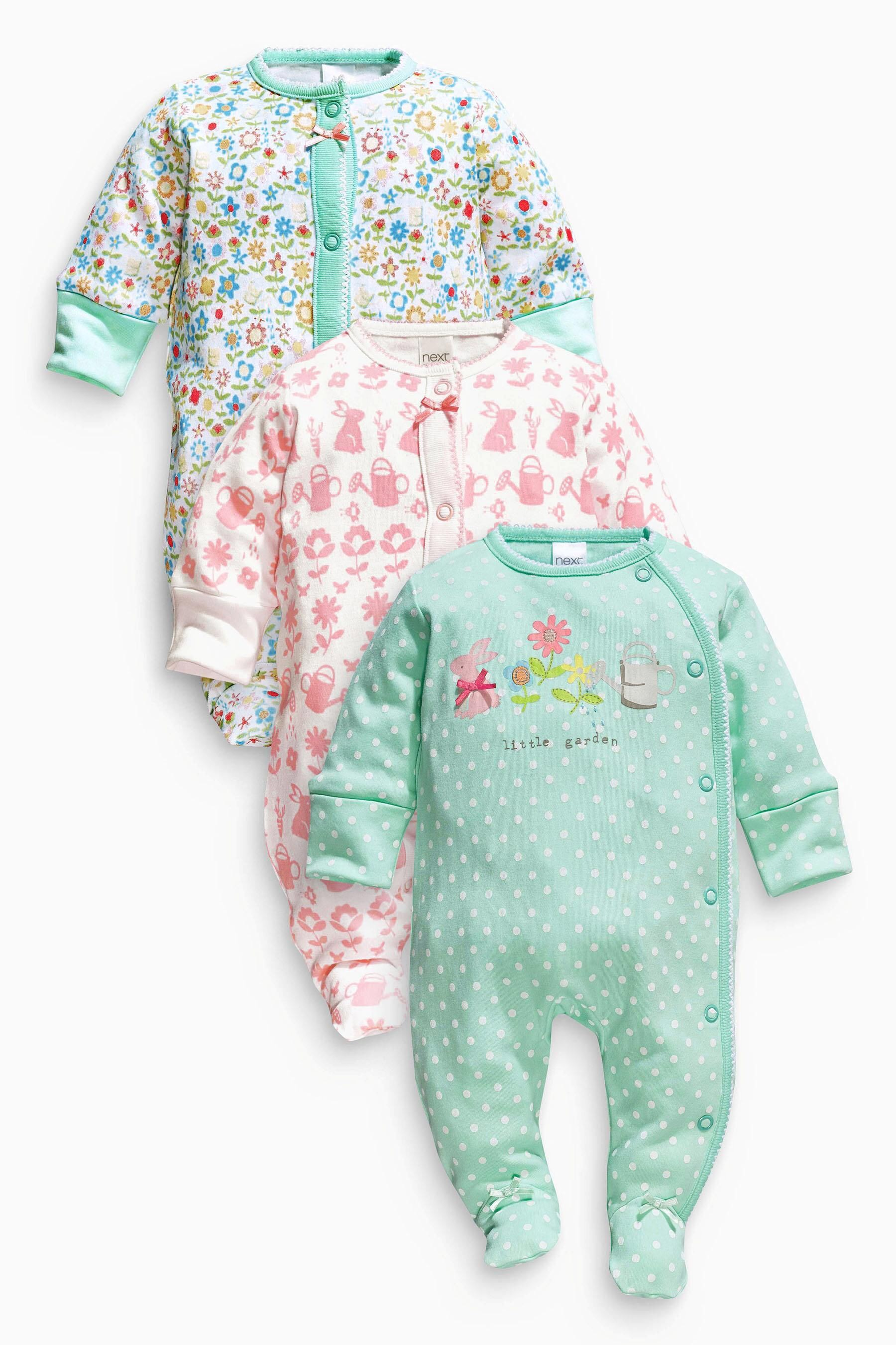 Bring adorable style to their bedtime with pretty sleepsuits for your baby girl. Prints and colourways moving along the seasonal trends, with unicorn and cute characters and florals adorning the look, bring home a delightful collection.